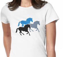 Colored running horses Womens Fitted T-Shirt