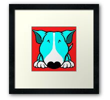 Aqua and White Bull Terrier Framed Print