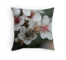 bee being busy in blossom Throw Pillow