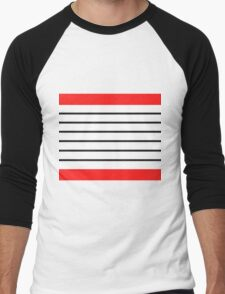 Red and Black Stripes Men's Baseball ¾ T-Shirt