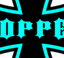 Maltese Cross Black & Aqua Sticker