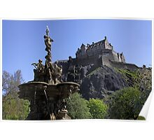 Edinburgh Castle and Ross Fountain Poster