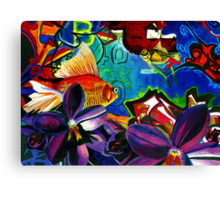 Fish and Flowers (Grafiti) Canvas Print