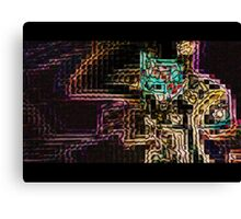 SUPERBOWL art, MODERN, ABSTRACT, multicolored pixel art, flipped photo Canvas Print