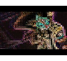 SUPERBOWL art, MODERN, ABSTRACT, multicolored pixel art, flipped photo Photographic Print