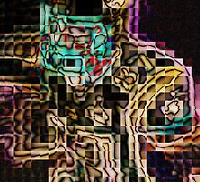 SUPERBOWL art, MODERN, ABSTRACT, multicolored pixel art, flipped photo by ackelly4