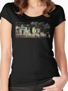 SUPERBOWL halftime, beach girls, abstract pixel art, flipped photo Women's Fitted Scoop T-Shirt