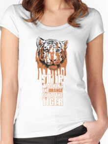 White Tiger Fraud (For Dark Backgrounds) Women's Fitted Scoop T-Shirt