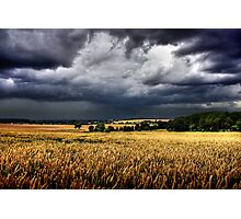 storm clouds over wheat field Photographic Print