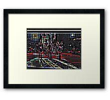 HALFTIME Superbowl ART, flipped photo, pixels Framed Print