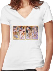 'The Four Seasons' by Alphonse Mucha (Reproduction) Women's Fitted V-Neck T-Shirt