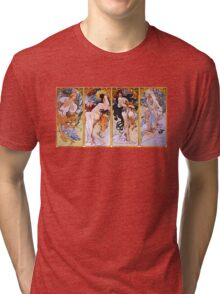 'The Four Seasons' by Alphonse Mucha (Reproduction) Tri-blend T-Shirt