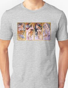 'The Four Seasons' by Alphonse Mucha (Reproduction) Unisex T-Shirt