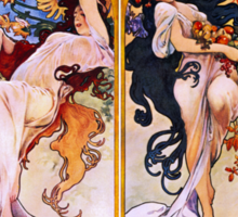 'The Four Seasons' by Alphonse Mucha (Reproduction) Sticker