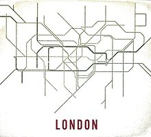 London Tube Map with Rustic Old Feel by maddytees