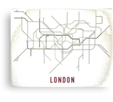 London Tube Map with Rustic Old Feel Canvas Print