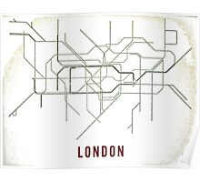 London Tube Map with Rustic Old Feel Poster
