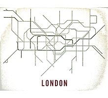 London Tube Map with Rustic Old Feel Photographic Print