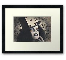 Vintage queen of hearts wearing poker card Framed Print