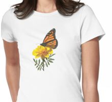 Monarch Butterfly on Marigold Womens Fitted T-Shirt