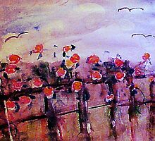 Vintage climbing roses on fence by Anna  Lewis