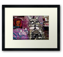 Cat and Bird Graffiti, Melbourne CBD Framed Print