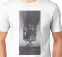 Realism Charcoal Drawing of Mirrors in Birdcage Unisex T-Shirt