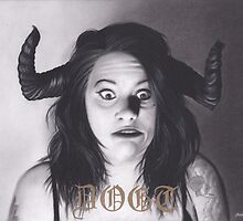 Realism Charcoal Drawing of Funny Faced Girl with Horns by brittnideweese