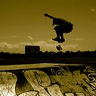 Sepia Shadow Skater by footyman