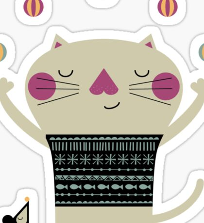 Cute Cat Juggling Sticker