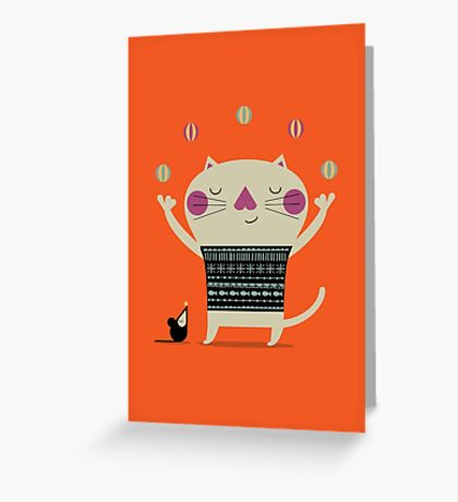 Cute Cat Juggling Greeting Card