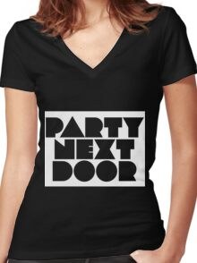 PARTYNEXTDOOR (Rect) White Women's Fitted V-Neck T-Shirt