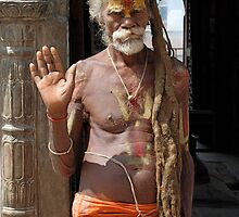Hindu holy man by Laurette Ruys