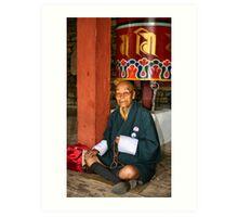 Old Man at Prayer, Thimpu, Bhutan, Eastern Himalaya  Art Print