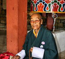 Old Man at Prayer, Thimpu, Bhutan, Eastern Himalaya  by Carole-Anne