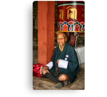 Old Man at Prayer, Thimpu, Bhutan, Eastern Himalaya  Canvas Print