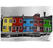 Burano coloured houses Poster