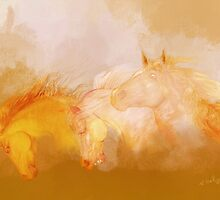 Flaxen manes'... by Valerie Anne Kelly