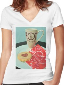 Valentine Treats Women's Fitted V-Neck T-Shirt