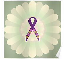 Purple Ribbon - Green Floral Design  Poster