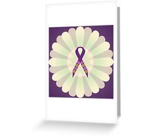 Purple Ribbon - Purple Yellow Floral Design  Greeting Card
