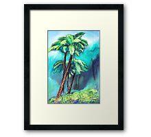 Tree ferns in the green rainforest Framed Print