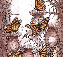 Smaller Monarch butterflies and  spear thistles by Vicky Pratt