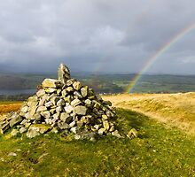 Rocks and Double Rainbow by TomGreenPhotos