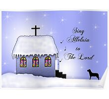 Church Snow Scene Poster