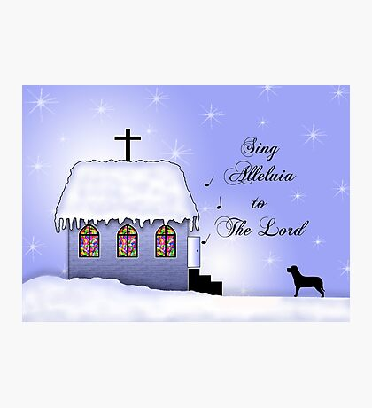 Church Snow Scene Photographic Print