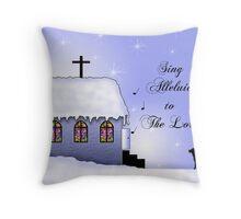 Church Snow Scene Throw Pillow