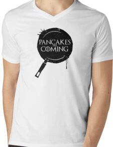 Pancakes Are Coming- Black Version Mens V-Neck T-Shirt