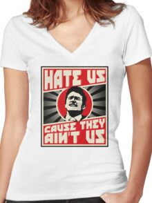Hate us! Women's Fitted V-Neck T-Shirt