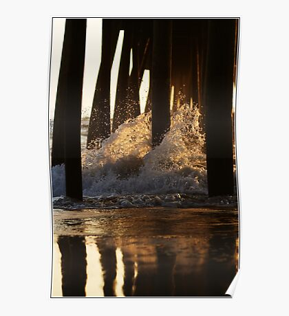 Waves crashing on the 17th Street Pier Poster